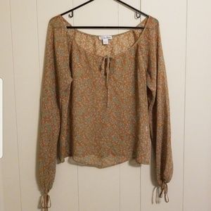 Lucky Brand Floral Sheer Silk Blouse